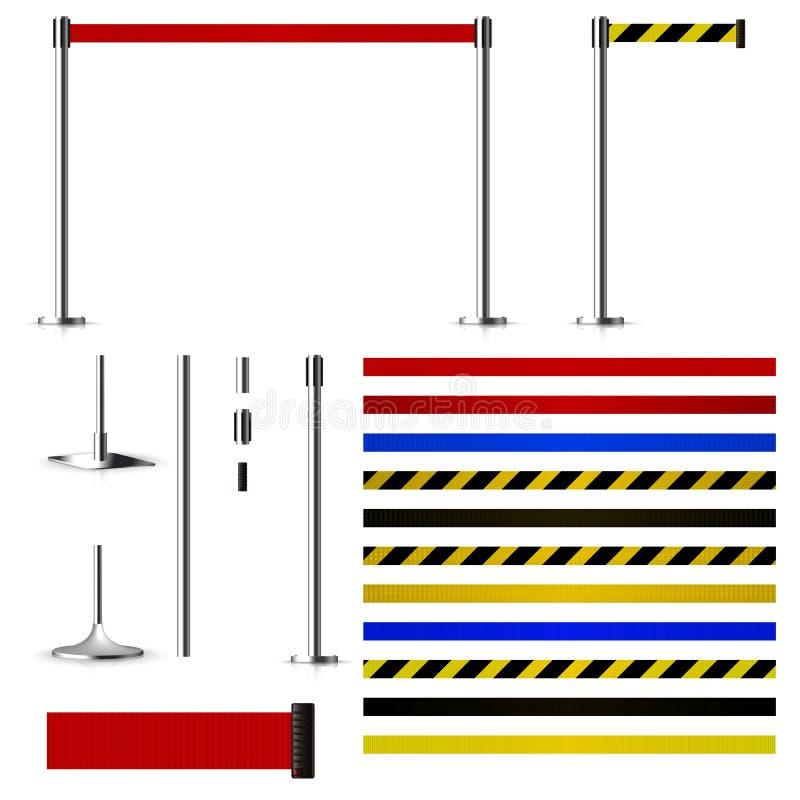 Ställ in för att skapa metallbarriärer med bälten vektor illustrationer