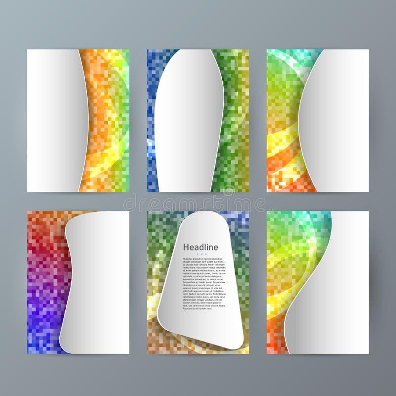 Ställ in för broschyrmodellen för mallar vertikalt glöd effect04 för mosaiken royaltyfri illustrationer