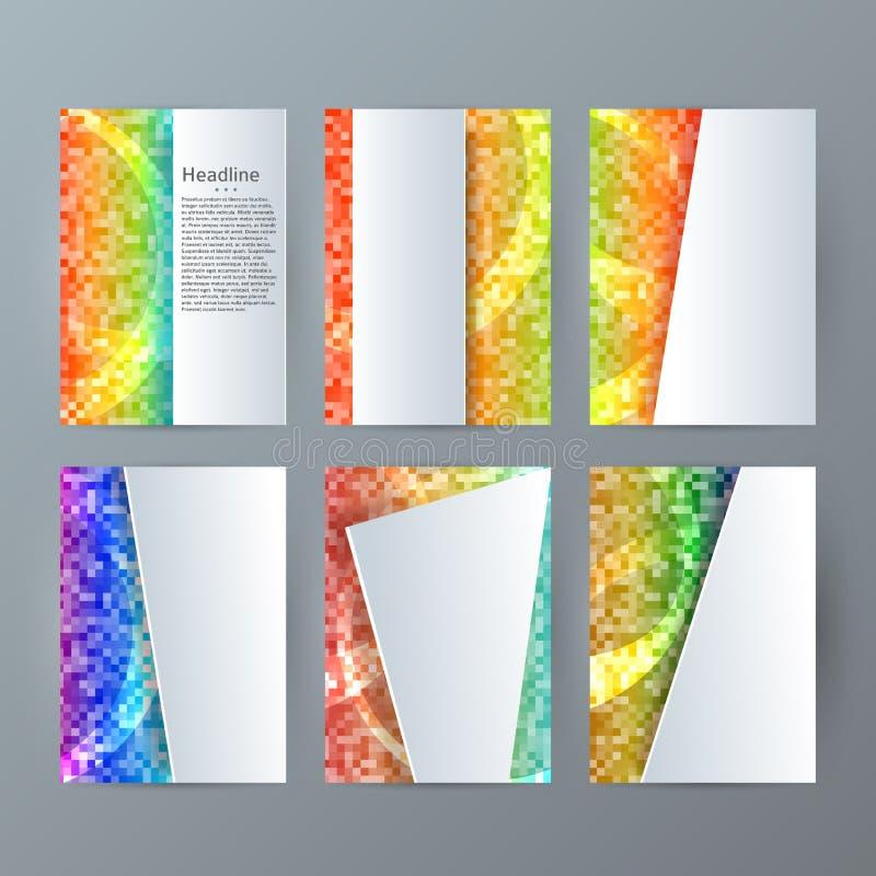 Ställ in för broschyrmodellen för mallar vertikalt glöd effect05 för mosaiken stock illustrationer