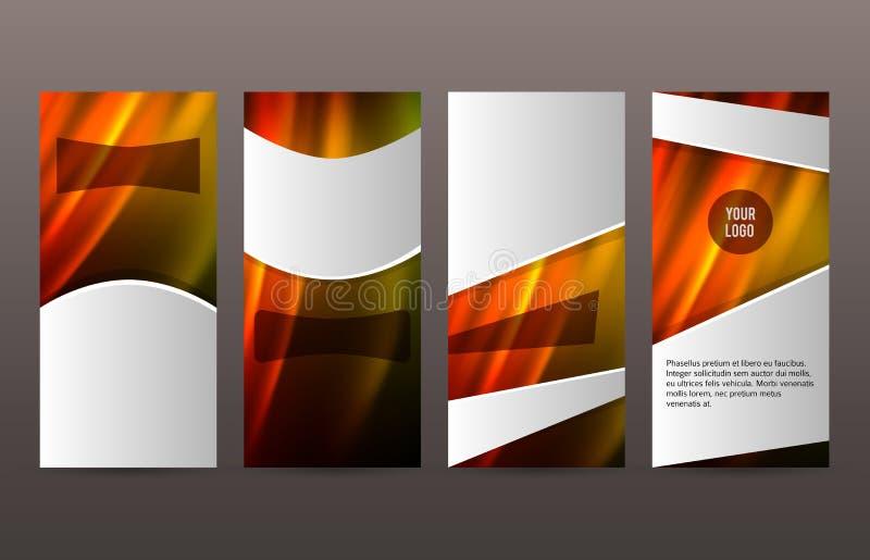 Ställ in för den vertikala varmt glöd effect01 reklambladorienteringen för mallar royaltyfri illustrationer