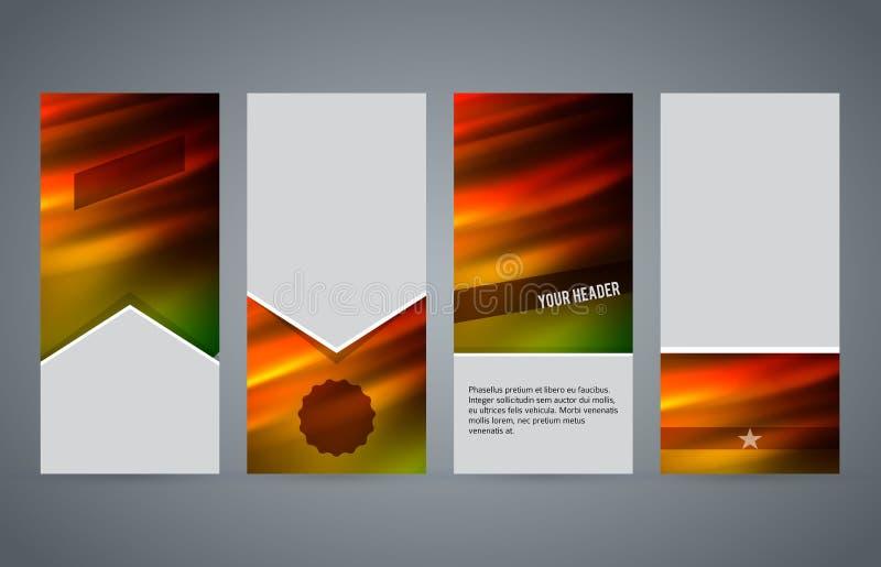 Ställ in för den vertikala varmt glöd effect02 reklambladorienteringen för mallar stock illustrationer