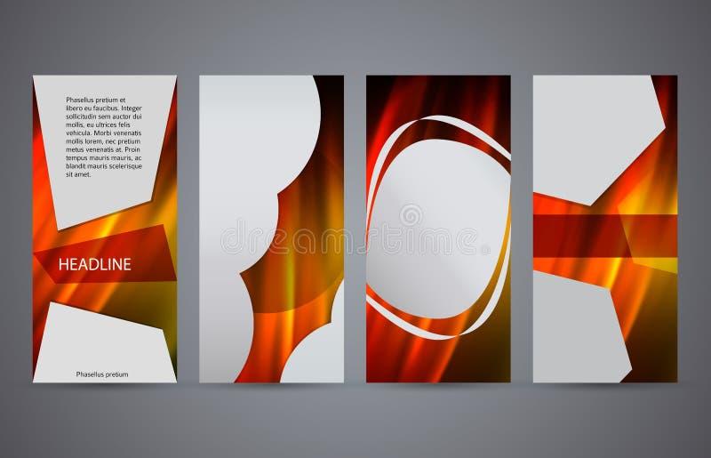 Ställ in för den vertikala varmt glöd effect10 reklambladorienteringen för mallar vektor illustrationer