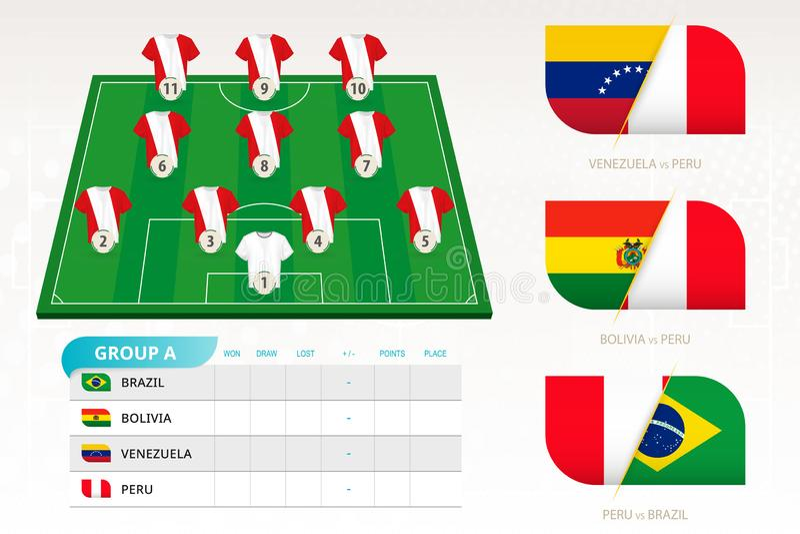 Ställ in för det Peru fotbollslaget stock illustrationer