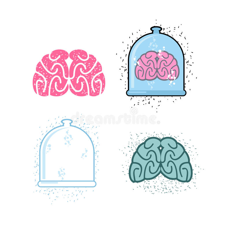 Ställ in för laboratoriumforskning Laboratorium av kanna- och människabr stock illustrationer