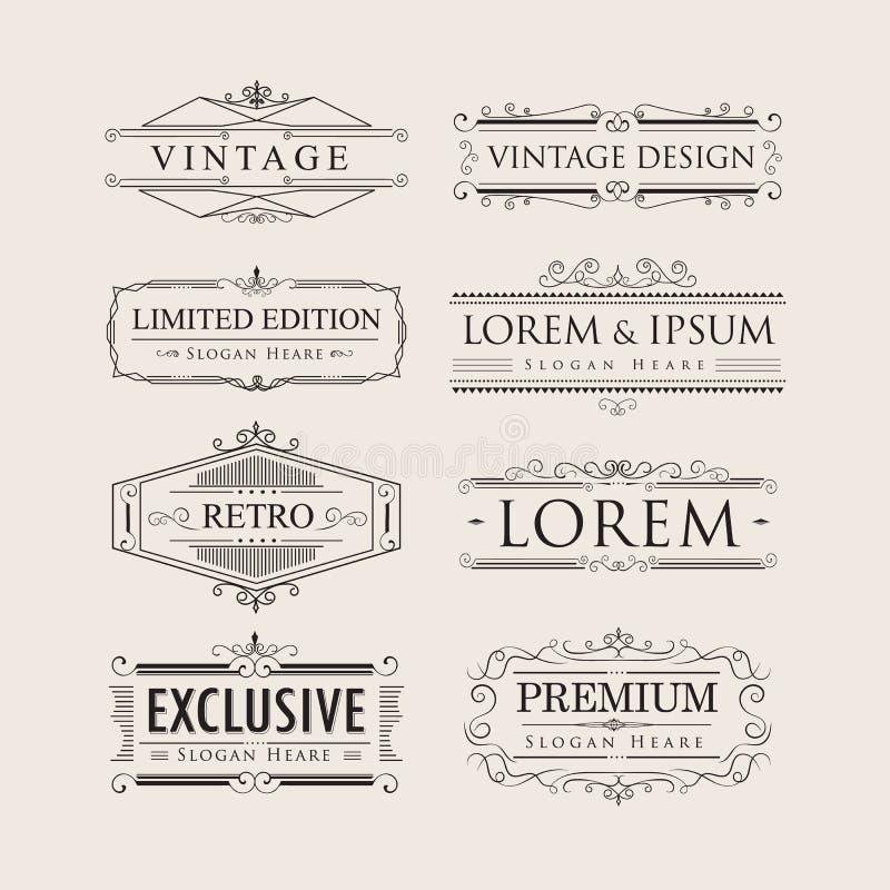 Ställ in för lyxiga emblem för logoer kalligrafikrusidullar för tappning eleganta stock illustrationer