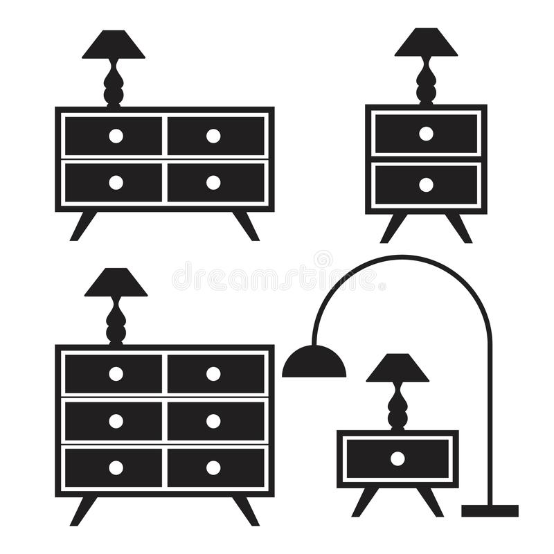 Ställ in för möblemangbegreppet för konturn den inre designen royaltyfri illustrationer