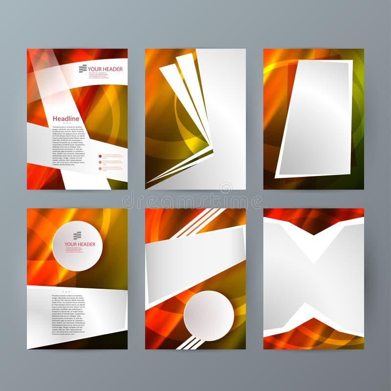 Ställ in för reklambladorienteringen för mallar vertikalt glöd effect01 vektor illustrationer