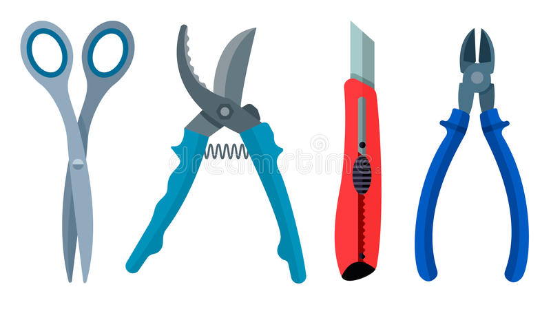 Ställ in för saxsecateuren för det bitande instrumentet pojkar för kniven plana vektor illustrationer