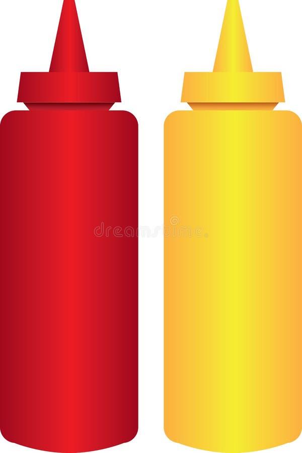 Ställ in för senap och ketchup royaltyfri illustrationer
