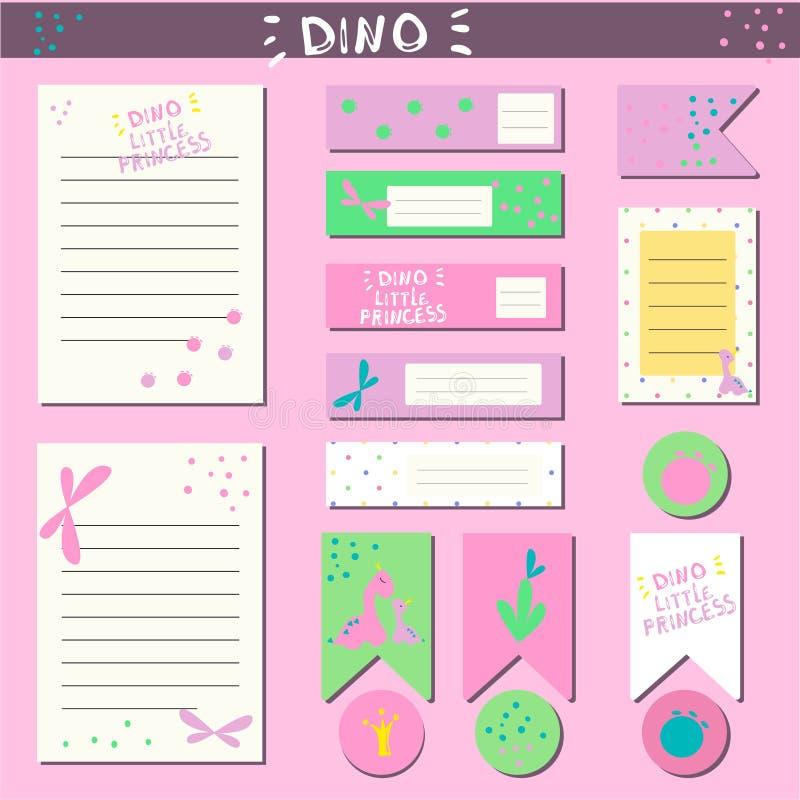 Ställ in för skapelsen av en glidflygplan, födelsedagen av flickan, klistermärkear, ark, etiketter som scrapbooking I stilen av e vektor illustrationer