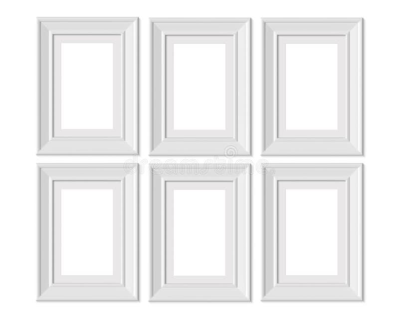 Ställ in 6 för ståendebilden för 2x3 A4 den vertikala modellen för ramen Inrama som är mattt med breda gränser Realisitc pappers- royaltyfri illustrationer
