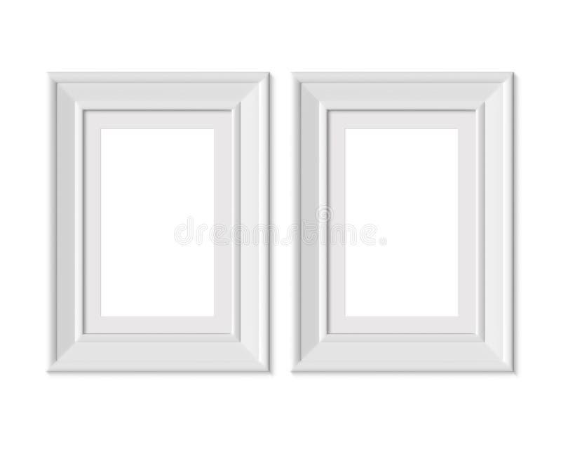 Ställ in 2 för ståendebilden för 2x3 A4 den vertikala modellen för ramen Inrama som är mattt med breda gränser Realisitc pappers- vektor illustrationer