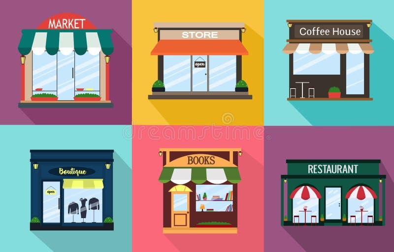Ställ in fasaden av en restaurang, shoppa, kaffe, boken, boutique, yttre idé också vektor för coreldrawillustration vektor illustrationer