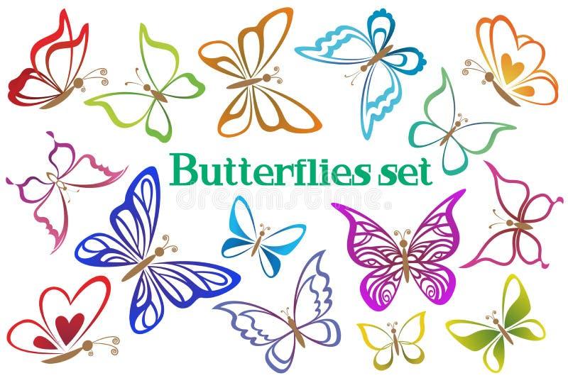 Ställ in fjärilskonturPictograms royaltyfri illustrationer