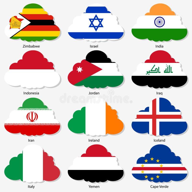 Ställ in flaggor av världssuveräna stater i form royaltyfri illustrationer