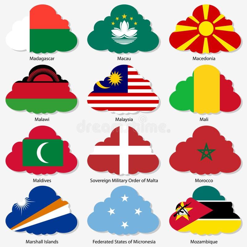 Ställ in flaggor av världssuveräna stater i form stock illustrationer