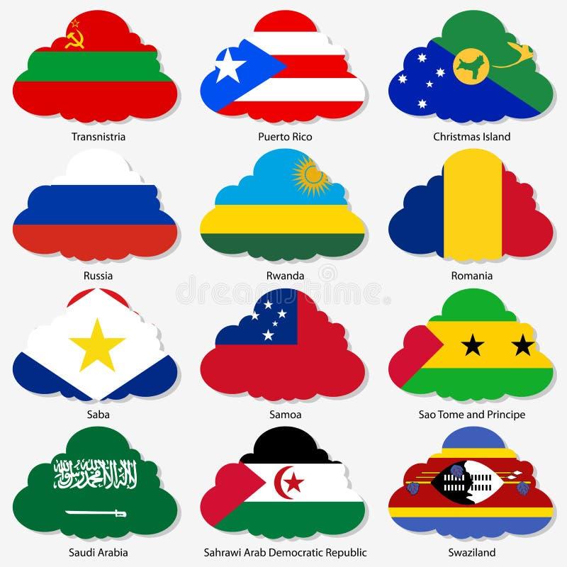 Ställ in flaggor av världssuveräna stater i form vektor illustrationer