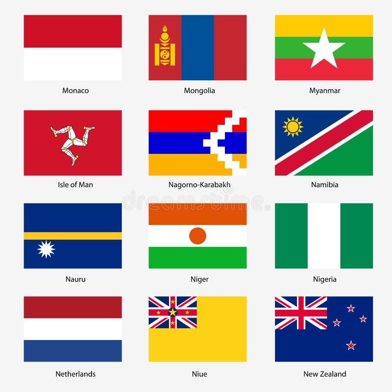 Ställ in flaggor av världssuveräna stater. Vektor stock illustrationer