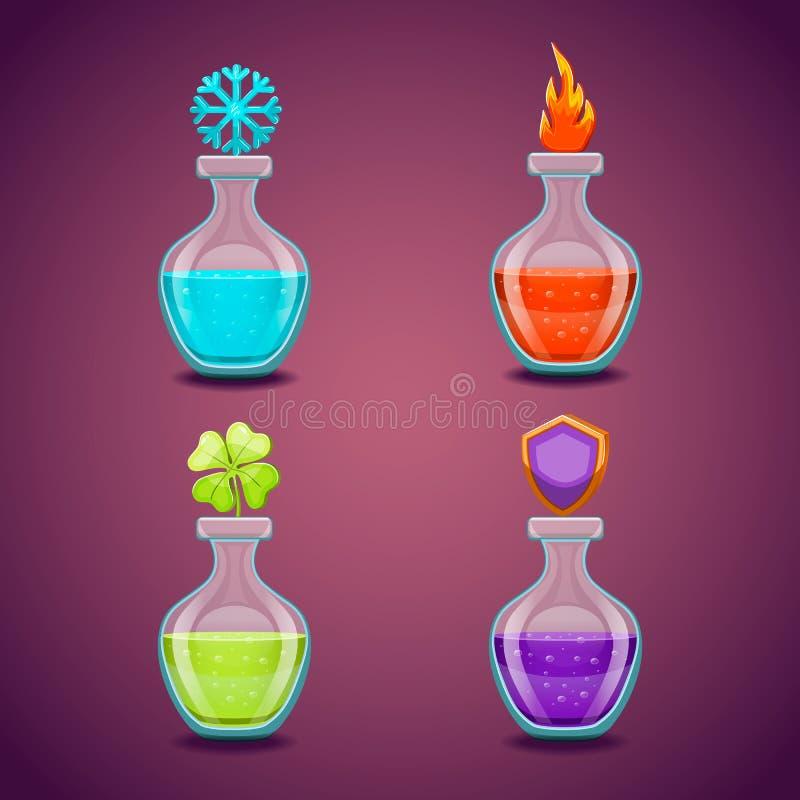 Ställ in flaskor med olik potions-3 stock illustrationer