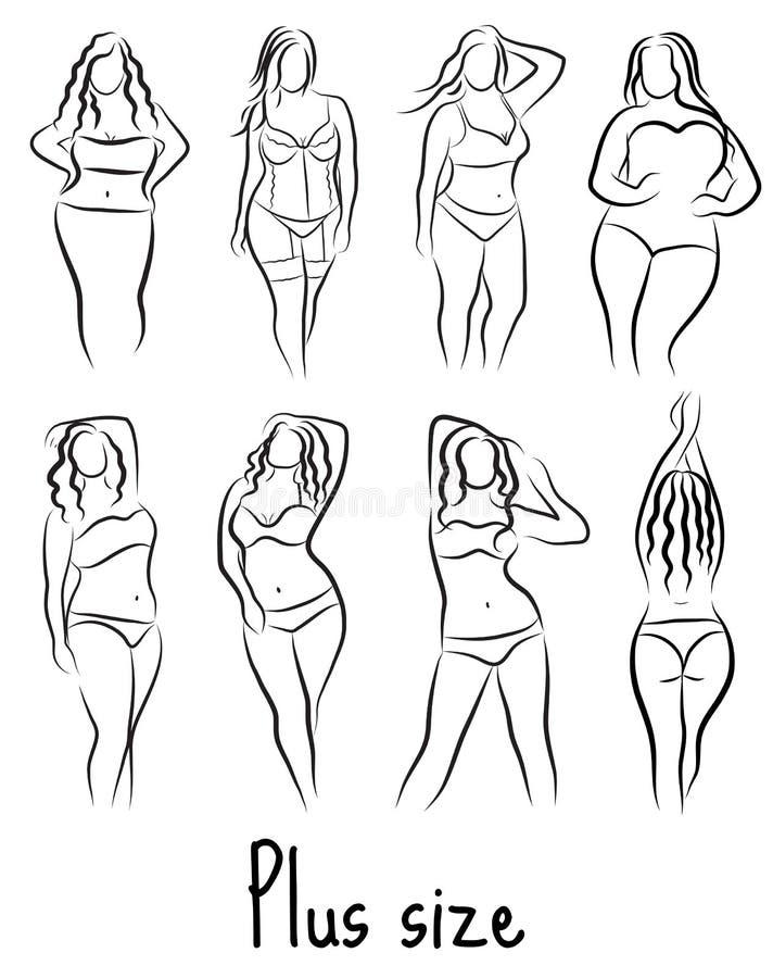 Ställ in flickan som konturn skissar plus formatmodell Curvy kvinnasymbol också vektor för coreldrawillustration royaltyfri illustrationer