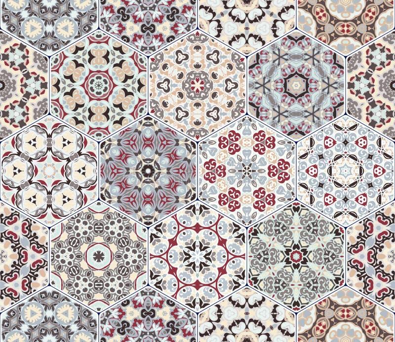 Ställ in från röda och gråa sexhörniga mönstrade tegelplattor stock illustrationer