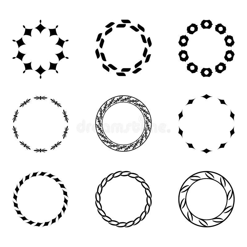Ställ in fractal- och virvelformbeståndsdelen Tappningmonokrom differen stock illustrationer