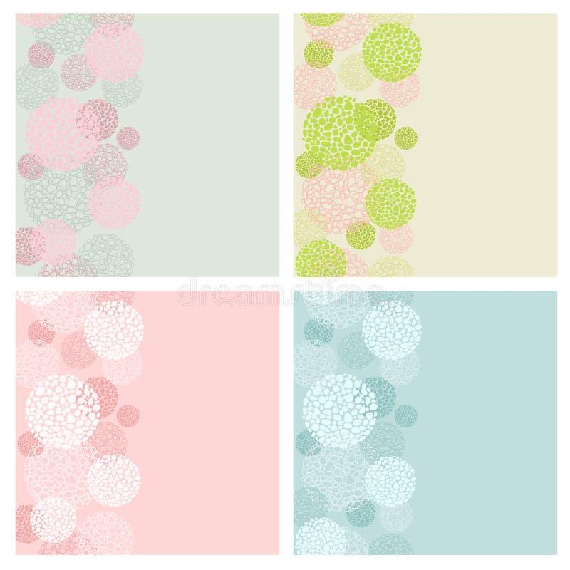 Ställ in fyra kort från rundaabstrakt begreppformer med ett ställe för texten stock illustrationer