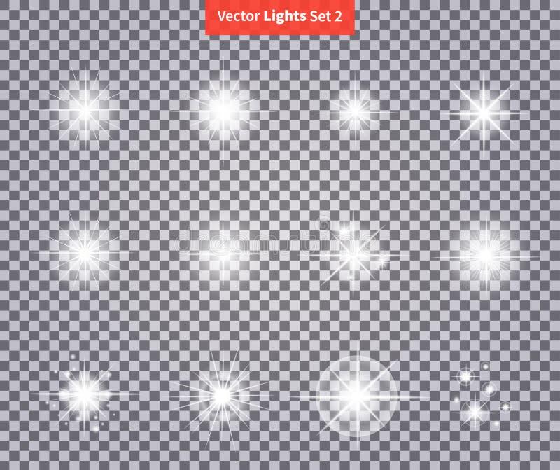 Ställ in glöder ljusa stjärnaljusfyrverkerier royaltyfri illustrationer