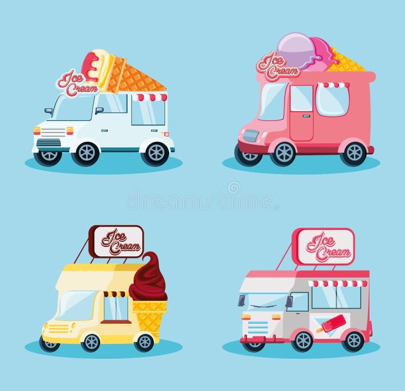 Ställ in glass shoppar skåpbilar stock illustrationer