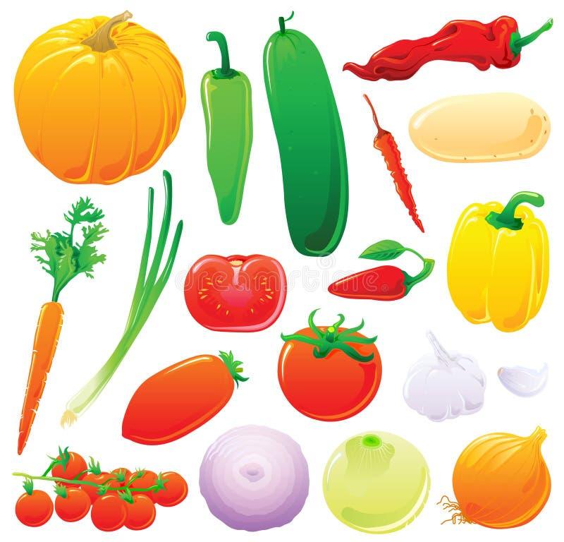 ställ in grönsaker stock illustrationer