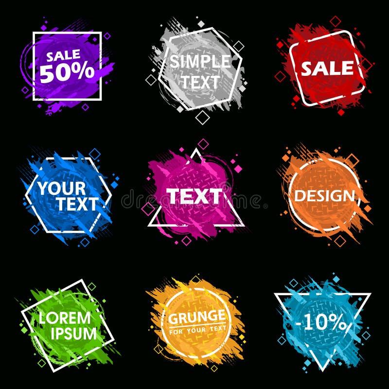 Ställ in Grungefärgstänkbanret Vektorn plaskar etiketter med utrymme för text Grunge etikett stock illustrationer