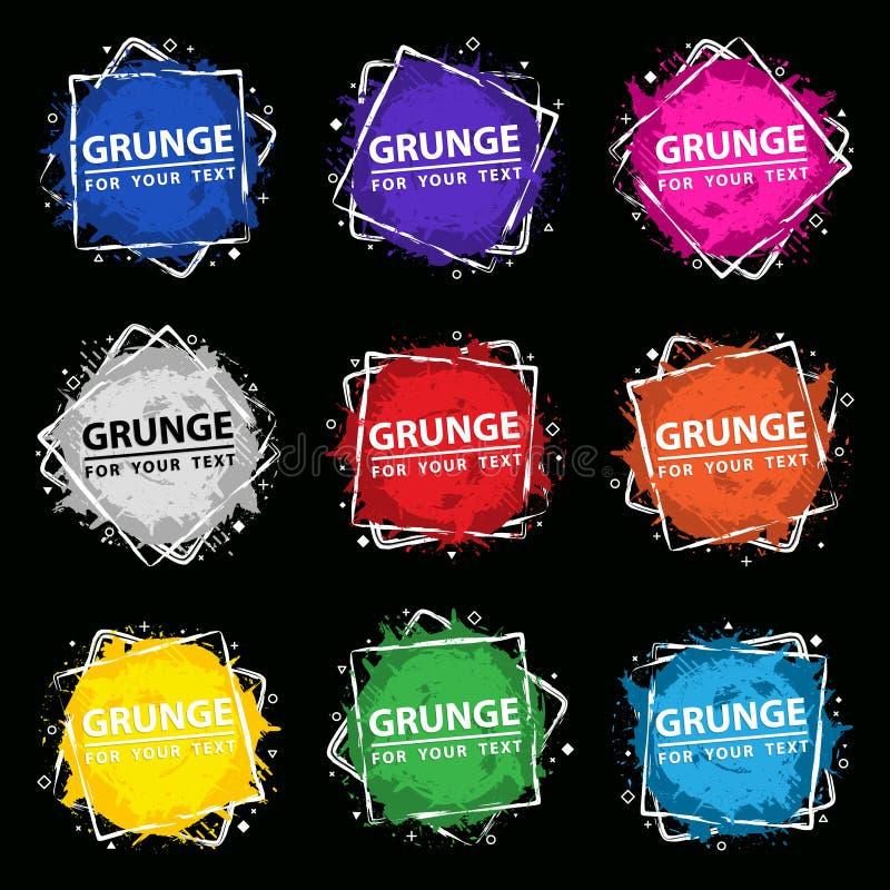 Ställ in Grungefärgstänkbanret Vektorn plaskar etiketter med utrymme för text Grunge etikett vektor illustrationer