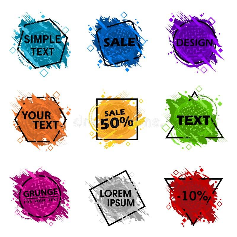 Ställ in Grungefärgstänkbanret Vektorn plaskar etiketter med utrymme för text Grunge etikett royaltyfri illustrationer