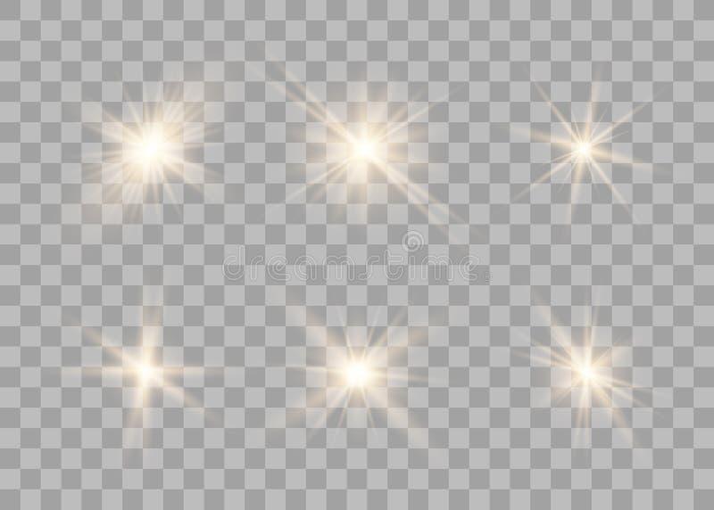 Ställ in guld- glödande ljuseffekt stock illustrationer