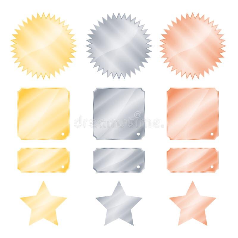 Ställ in guld- glansiga vektorklistermärkear för silver och för brons i formen av en cirkel med tänder och stjärnor för en fyrkan royaltyfri illustrationer