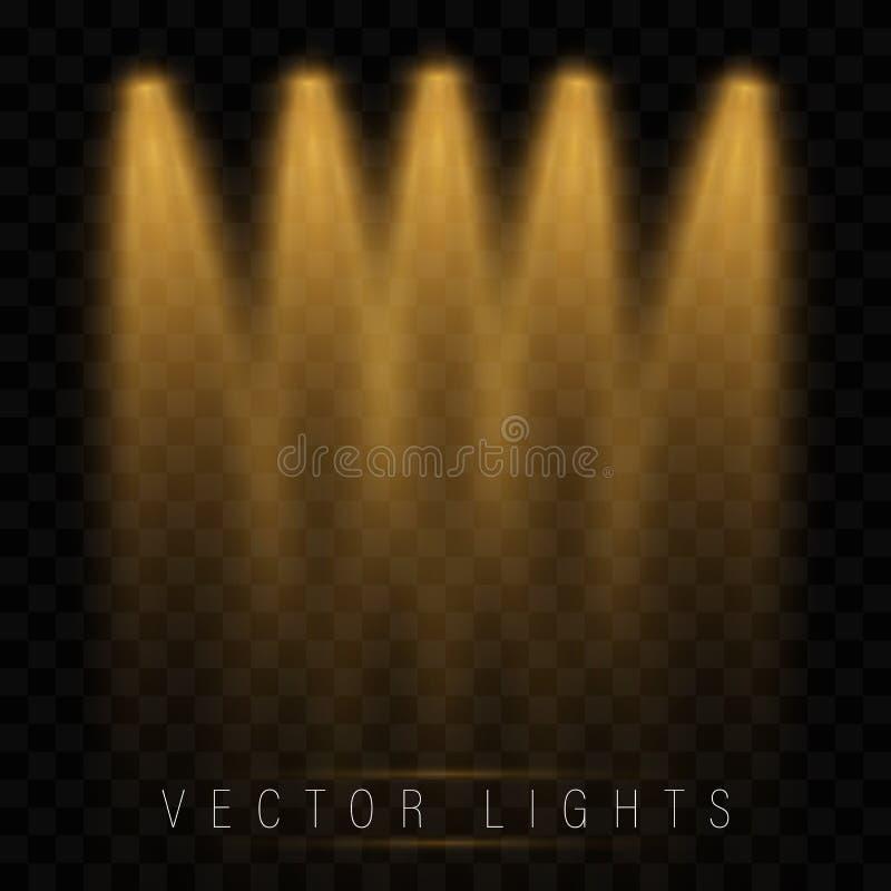 Ställ in guld- strålkastare för vektorn royaltyfri illustrationer