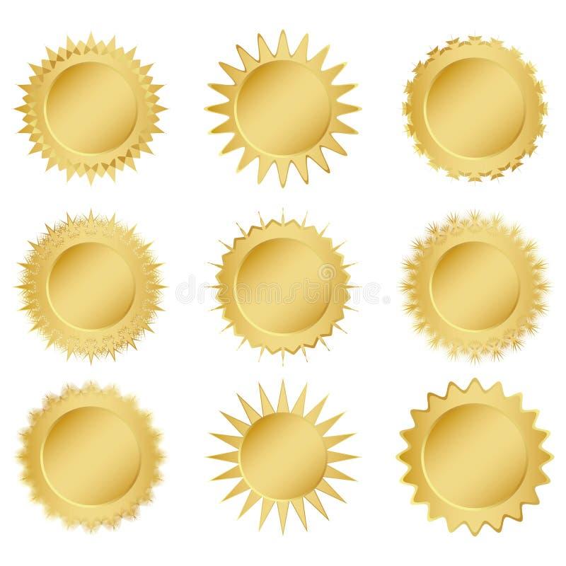 Ställ in guldmedaljer stock illustrationer