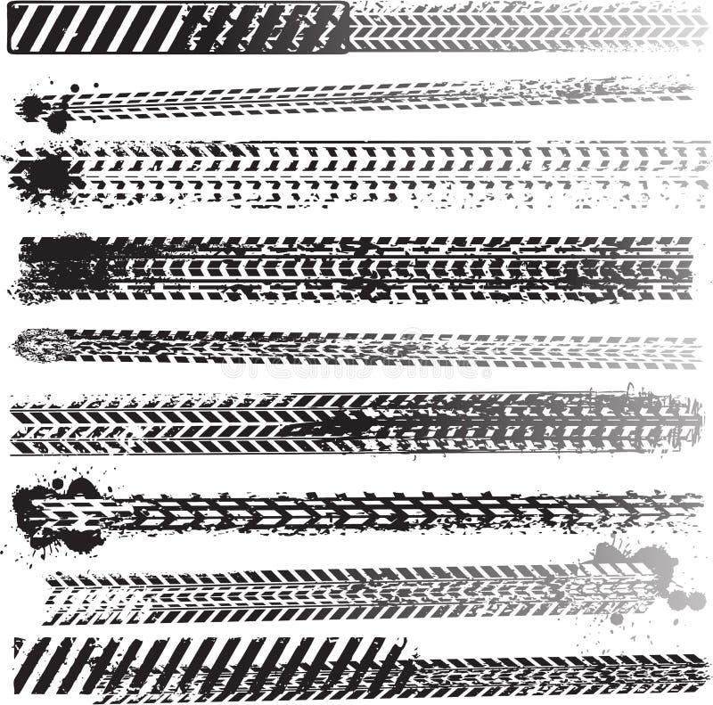 ställ in gummihjulspår royaltyfri illustrationer