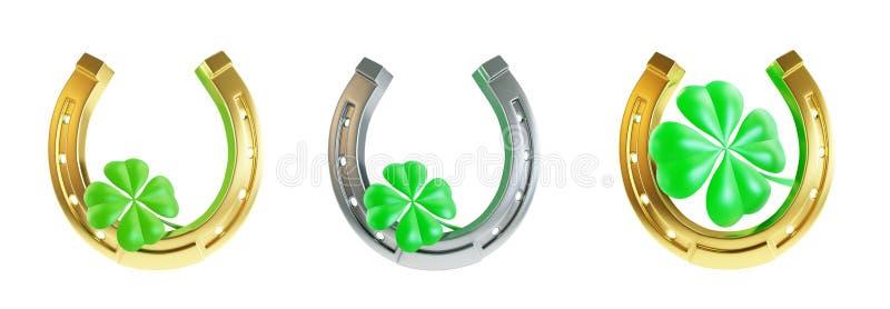 Ställ in hästskon för dagen för St Patrick ` s stock illustrationer