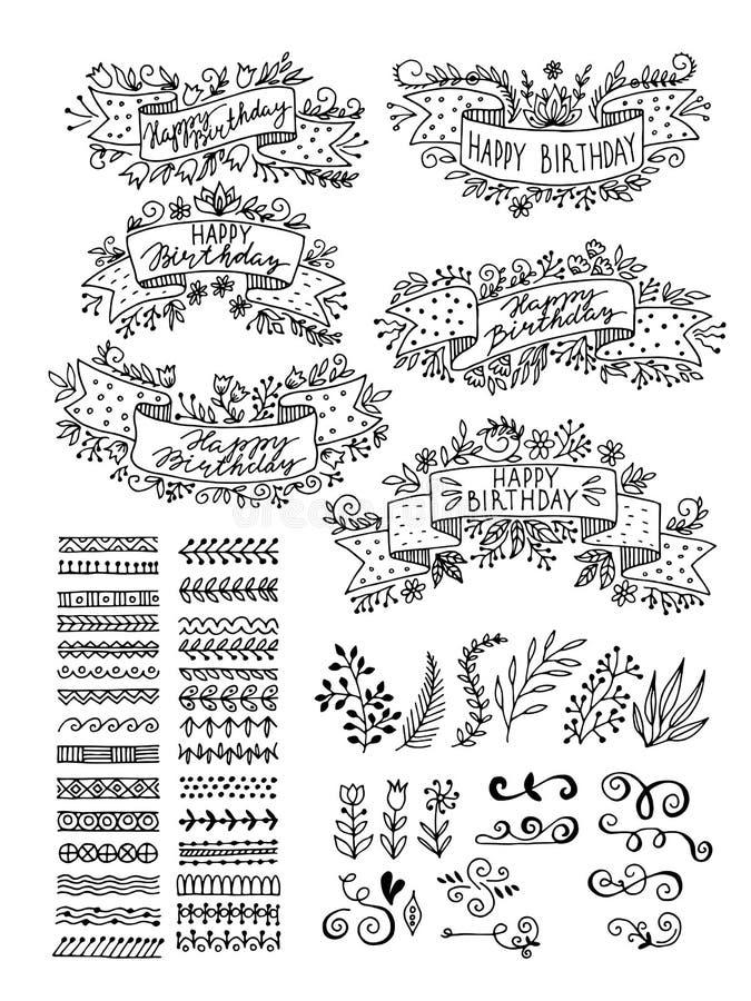 Ställ in hand-drog blom- beståndsdelar Band för inskrifter vektor illustrationer