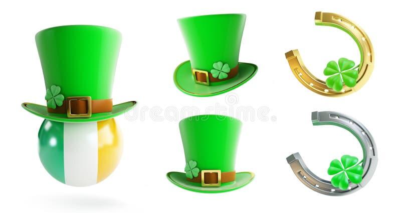 Ställ in hatten för gräsplan för dagen för St Patrick ` s, hästsko vektor illustrationer