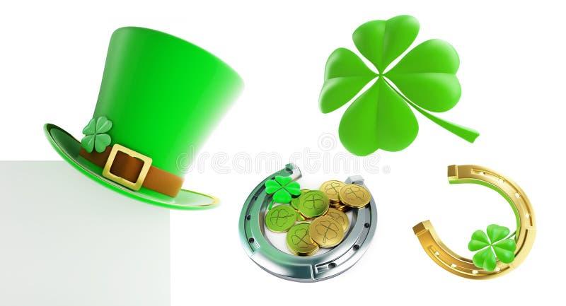 Ställ in hatten för gräsplan för dagen för St Patrick ` s, illustration för hästsko 3D vektor illustrationer