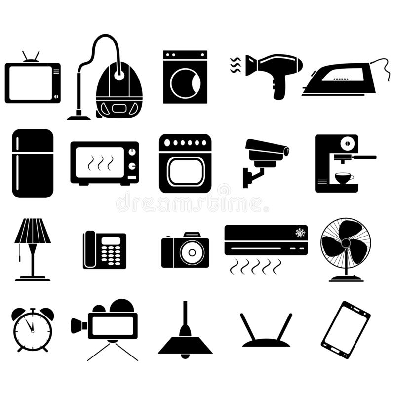 Ställ in hemmet av symbolerna för elektronisk utrustning vektor illustrationer