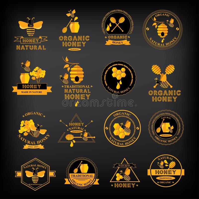 Ställ in honungemblem och etiketter Abstrakt bidesign stock illustrationer