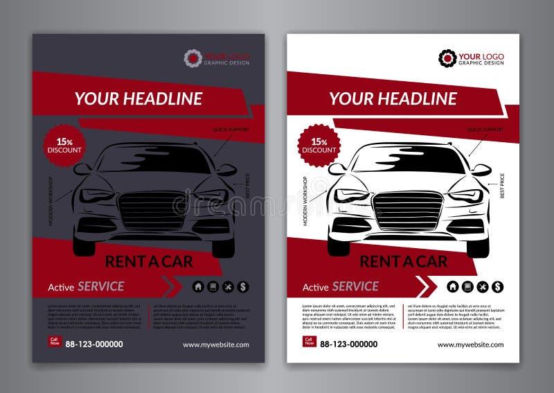 Ställ in A5, hyra A4 en mall för bilaffärsreklamblad Tjänste- broschyrmallar för automatisk, biltidskrifträkning vektor illustrationer