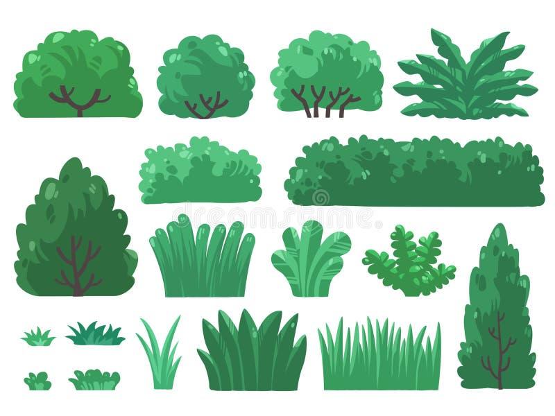 Ställ in illustrationen av träd och buskar i minsta stil arkivbilder