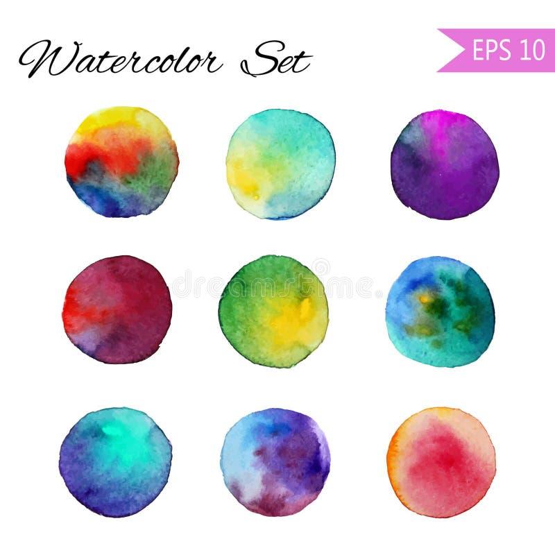 Ställ in illustrationen för denstil vektorfläcken Färgrik beståndsdel för design eller tryck vektor illustrationer