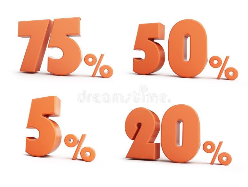 Ställ in illustrationen för procent 3D vektor illustrationer