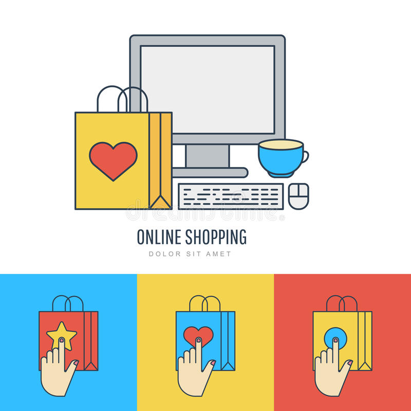 Ställ in illustrationen för vektorlägenhetstil, online-shopping och e-komrets royaltyfri illustrationer