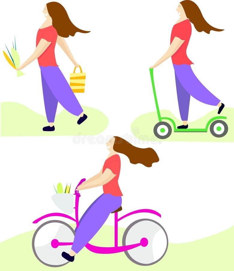 Ställ in illustrationen Flicka som rider en cykel, rider en sparkcykel och bär blommor Illustration i en plan stil stock illustrationer